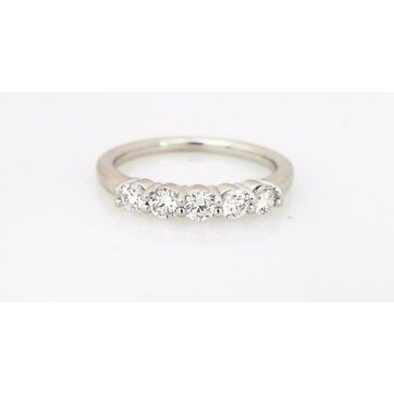 14k White 5-Stone Diamond Wedding Ring (.50ctw)