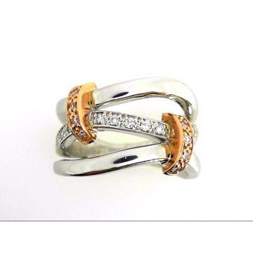 14k Rose/White Gold Diamond Fashion Ring