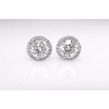 18k White Gold Diamond Halo Earrings (1.15ctw)