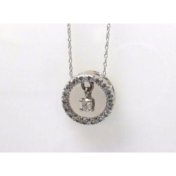 14k White Gold Diamond Circle Pendant with Dancing Diamond (.25ctw)