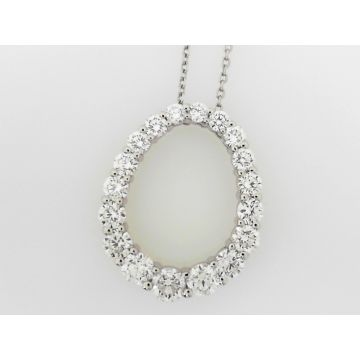 14k White 2.09 Carat Oval Diamond Pendant with Necklace