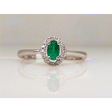 14k White Gold Diamond Halo Emerald Ring