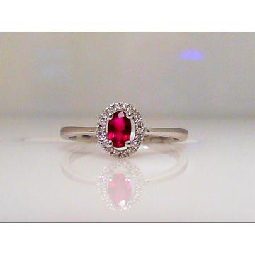 14k White Gold Diamond Ruby Halo Ring