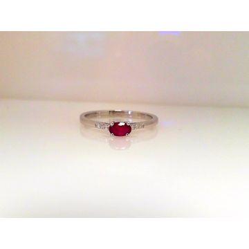 14k White Gold Diamond Ruby Ring