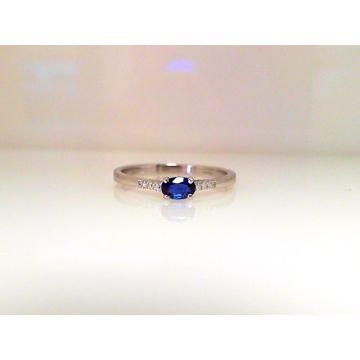 14k White Gold Diamond & Sapphire Ring