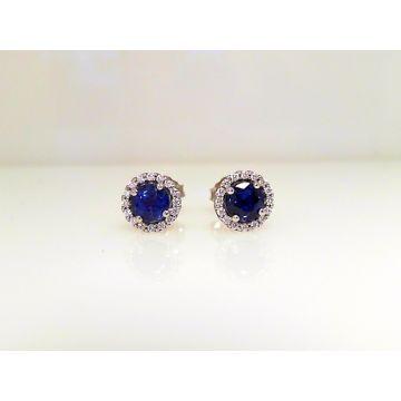Diamond Halo Sapphire Earrings (1.29ctw)