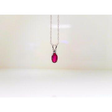 14k White Ruby & Diamond Pendant (.34ctw)