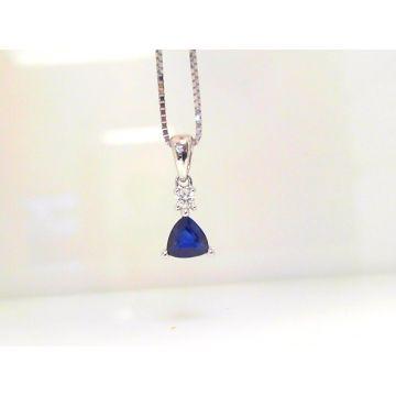 14k White Gold Sapphire & Diamond Pendant (5/8 cttw)