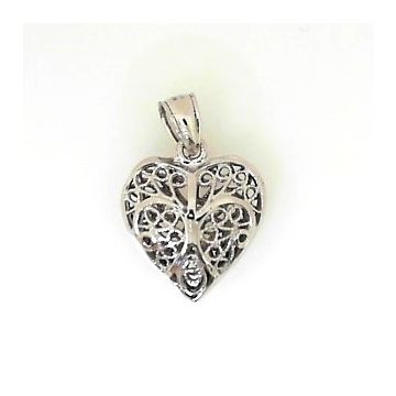 14k White Gold Filigree Heart Pendant