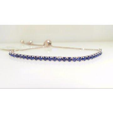 Sterling Silver Bolo Sapphire Blue
