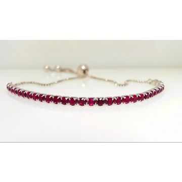 Sterling Silver Bolo Ruby Red