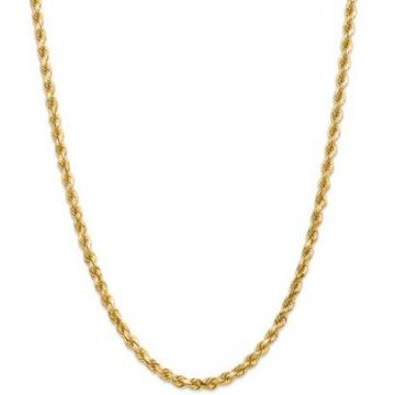 14k 4.5mm Solid Diamond Cut Rope Chain