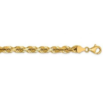 14k 6.5mm Solid Diamond Cut Rope Chain