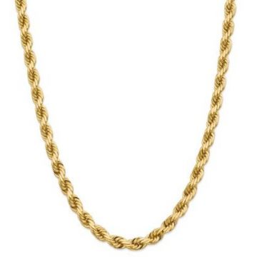 14k 8mm Solid Diamond Cut Rope Chain