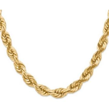 14k 10mm Solid Diamond Cut Rope Chain