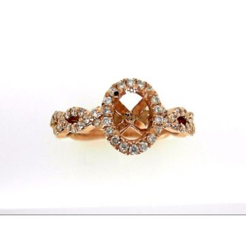 14k Rose Gold Halo Twist Diamond 7x5 Engagement Ring Semi-Mount