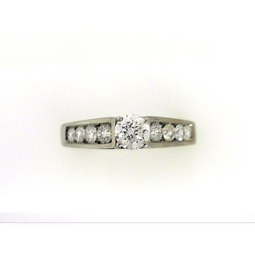 14k White 1/2 Carat Diamond Engagement Ring set with .35 Carat Round Center