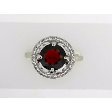 925 Sterling Silver Halo Garnet Fashion Ring