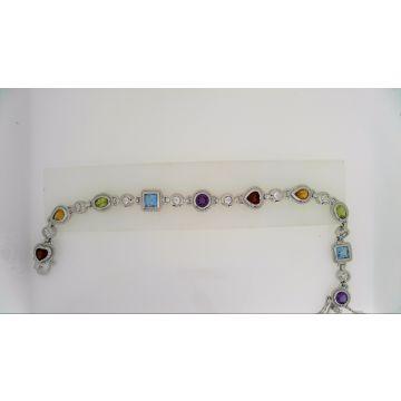 925 Multi-Color Gemstone Bracelet 7.05 Carat