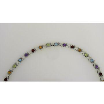 """""""NEW"""" 925 Sterling Silver Muli-Color Bracelet 7.5"""""""