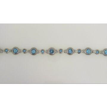 925 Sterling Silver & Blue Topaz Bracelet 7.60 Carat
