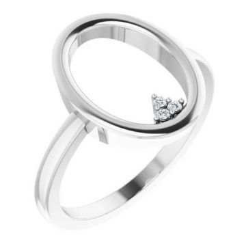 Sterling Silver .01 CTW Diamond Open Circle Cluster Ring