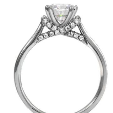 14k White Gold Diamond Engagement Ring 1-1.25 Carat Round Semi-Mount