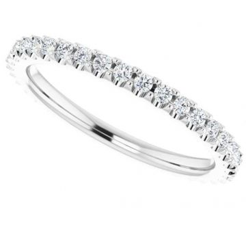 14K White 3/8 CTW Diamond Eternity Band Size 7.5
