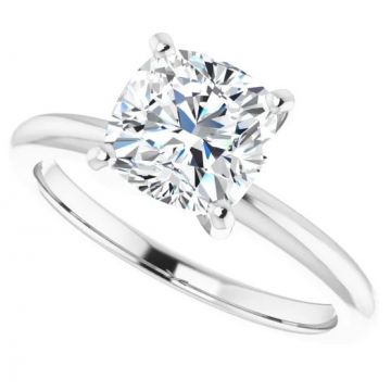 14k White Gold Cushion Solitaire Engagement Ring Semi-Mount