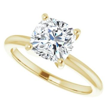 14k Yellow Gold Cushion Solitaire Engagement Ring Semi-Mount