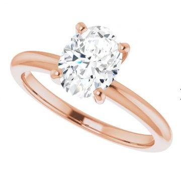 14k Rose Gold Oval Solitaire Engagement Ring Semi-Mount