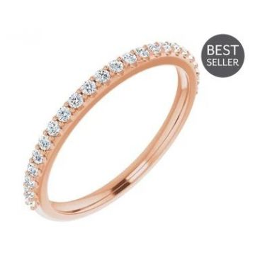 14k Rose 1/4 Carat Straight Diamond Wedding Band