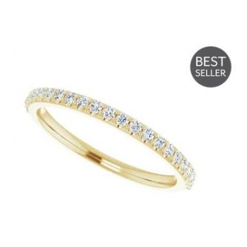 14k Yellow 1/4 Carat Straight Diamond Wedding Band