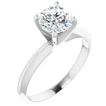 14K White 1 Carat Round 4-Prong Light Solitaire Ring Mounting