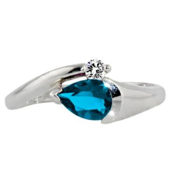 10k White 7x5 Blue Topaz Diamond Ring