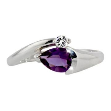 10k White 7x5 Amethyst Diamond Ring