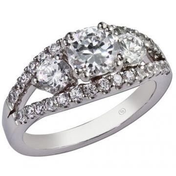 14k White Gold Open 3 Stone Diamond Engagement Ring .94 carat