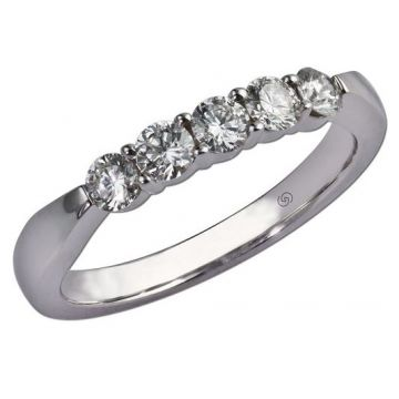 14k White Gottlieb & Sons 5-stone Wedding Ring (.50ctw)