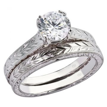 14k White Gold Gottlieb & Sons .03TW Engagement Semi-Set