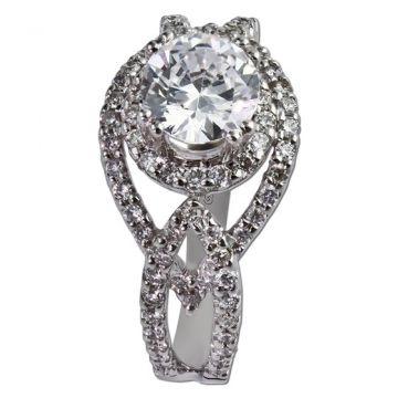 14K White Gold .65CT Diamond Gottlieb & Sons Halo Semi-Mount