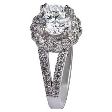 14K White Gold .38CT Diamond Gottlieb & Sons Halo Semi-Mount