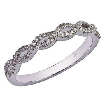 14k White Gold Gottlieb & Sons Twist Wedding Ring (0.17ctw)