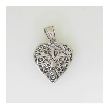 14k White Gold 3-D Diamond Cut Heart Charm