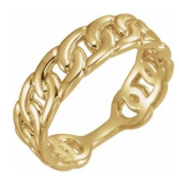 14k Yellow Interlocking Stackable Link Ring