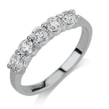 14k White Gold Diamond Engagement Band 3/4