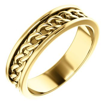 14k Yellow Gold Link Wedding Band