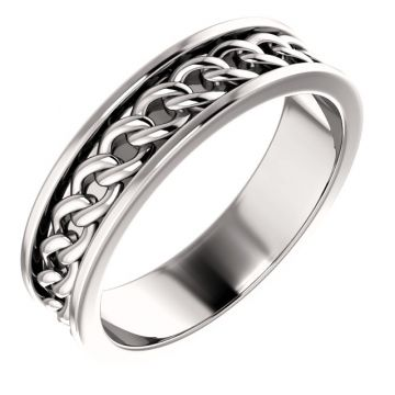 14k White Gold Link Wedding Band