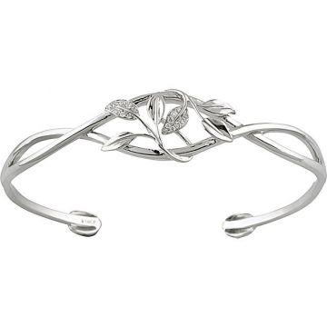 Sieger's Jewelers 14k White Gold Diamond Leaf Design Cuff Bracelet