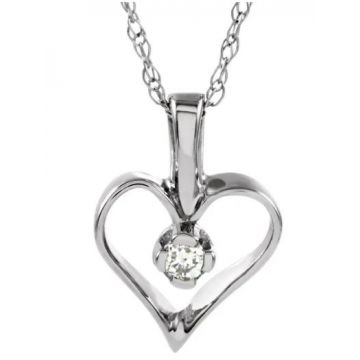 "14k Diamond Heart Pendant with 18"" Necklace"