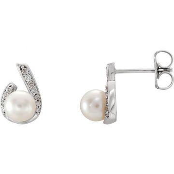 Sieger's Jewelers 14k White Gold Freshwater Pearl Diamond Earrings